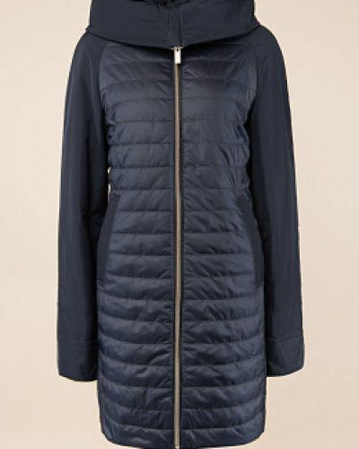 Прямое синее пальто с капюшоном Madzerini