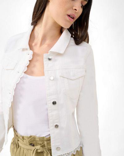 Biała kurtka jeansowa bawełniana z długimi rękawami Orsay