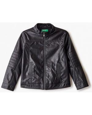 Куртка черная кожаная United Colors Of Benetton