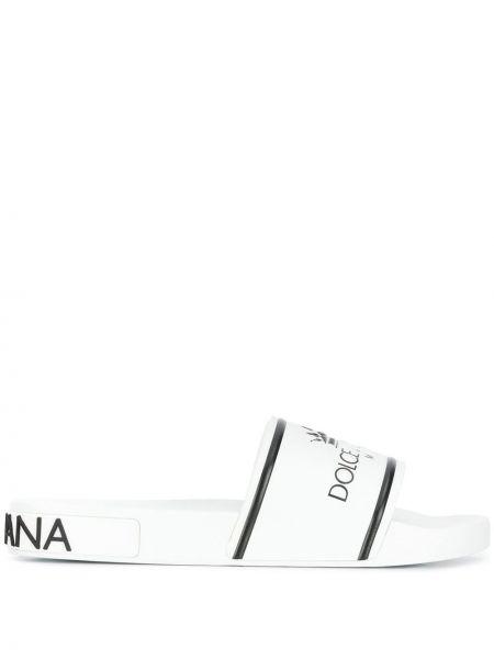 Kapcie skórzany z logo Dolce And Gabbana