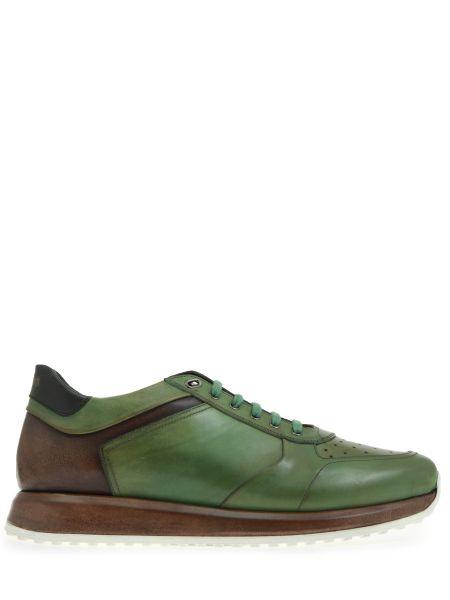 Кожаные комбинированные кроссовки с перфорацией на шнуровке Franceschetti