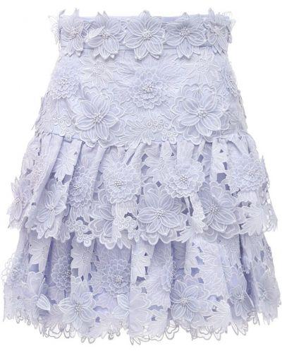 Niebieski światło spódnica mini na sznurowadłach Zimmermann