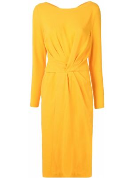 Желтое платье миди с V-образным вырезом на молнии с длинными рукавами Escada