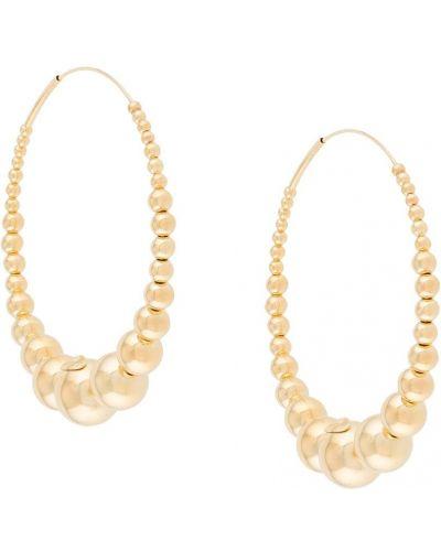 Золотистые желтые серьги-кольца с жемчугом Gas Bijoux