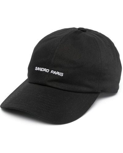 С ремешком черная кепка с вышивкой Sandro Paris