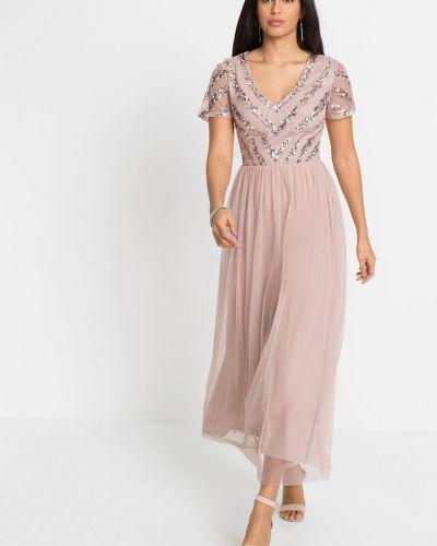 Платье макси с пайетками - розовое Bonprix
