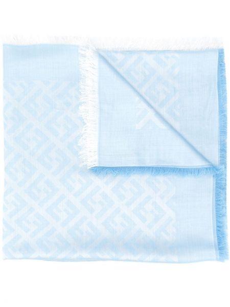 Jedwab niebieski światło szalik z logo Fendi