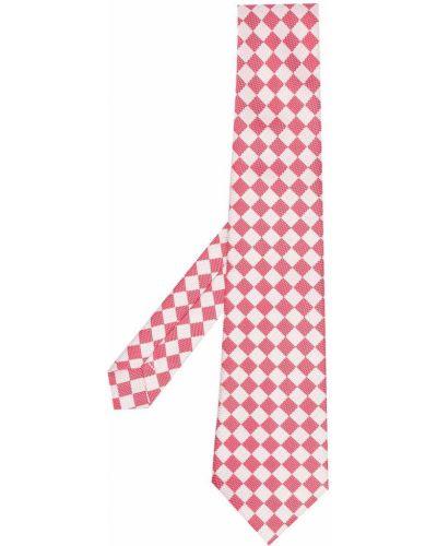 Różowy krawat z jedwabiu z printem Comme Des Garcons Homme Deux