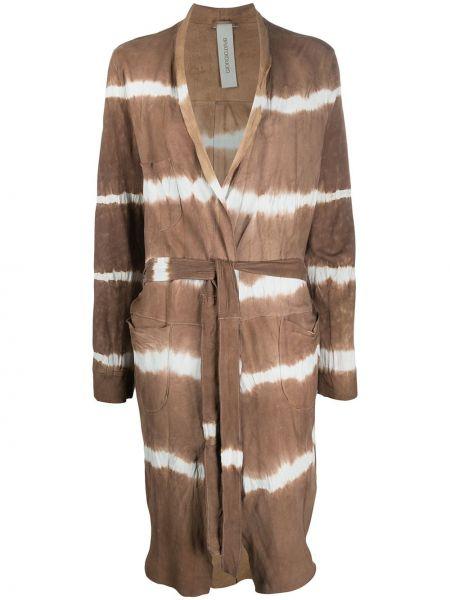 Прямое кожаное длинное пальто с капюшоном Giorgio Brato
