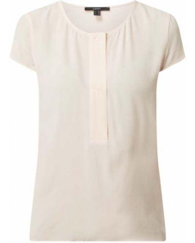 Różowa bluzka krótki rękaw z wiskozy Esprit Collection