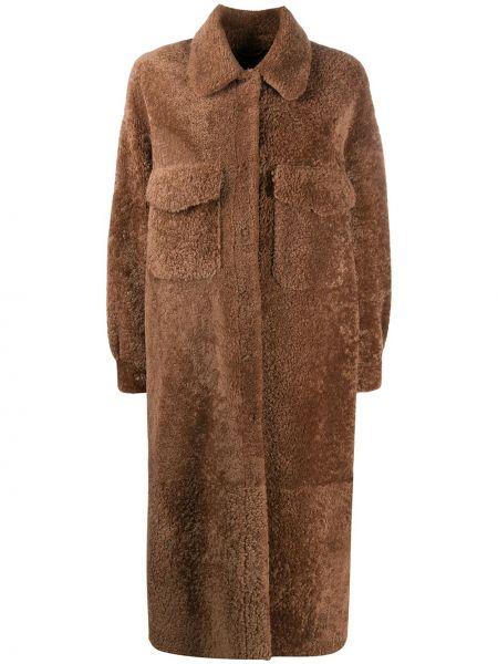 Коричневое кожаное пальто классическое с воротником Simonetta Ravizza