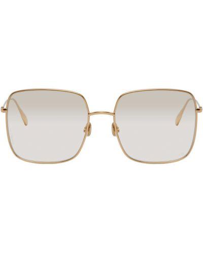 Кожаные солнцезащитные очки квадратные золотые Dior