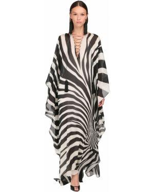 Платье макси на шнуровке с отложным воротником Roberto Cavalli