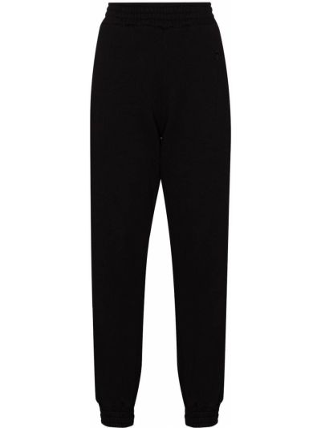 Czarne spodnie z wysokim stanem bawełniane Rta