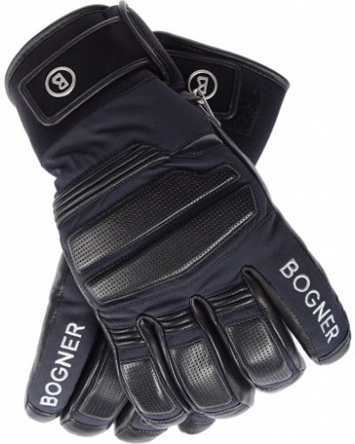 Кожаные перчатки текстильные черные Bogner