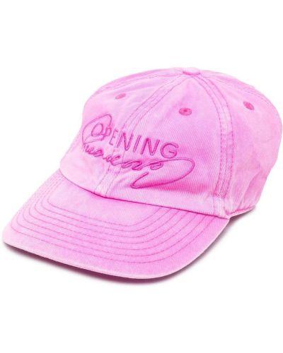 Różowa czapka bawełniana z haftem Opening Ceremony