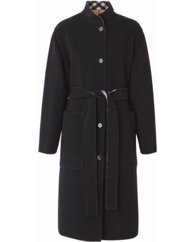 Шерстяное пальто - черное Burberry