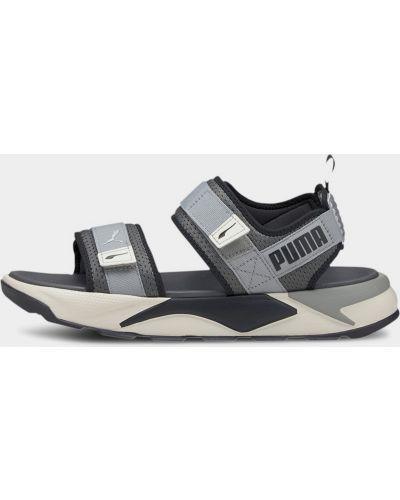 Серые текстильные сандалии на липучках Puma