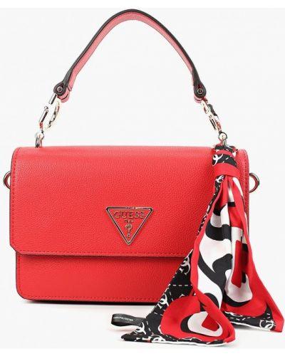 Кожаная сумка с ручками красная Guess