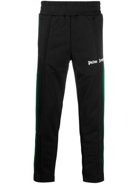 Czarny fajki do spodni z kieszeniami z paskami Palm Angels
