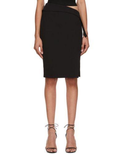 Черная юбка стрейч из крепа Mugler