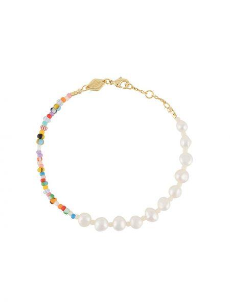 Золотистый белый браслет с бисером металлический Anni Lu