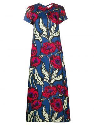 Прямое шелковое платье мини с вырезом с короткими рукавами La Doublej