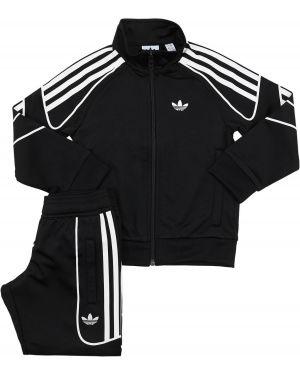Czarny dres w paski z raglanowymi rękawami Adidas Originals