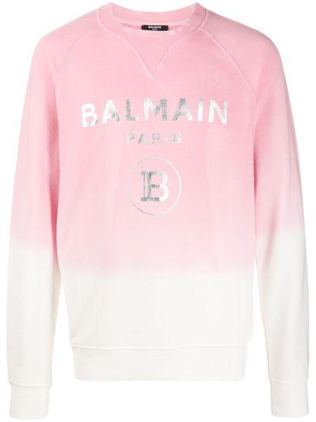 Хлопковая с рукавами розовая толстовка Balmain