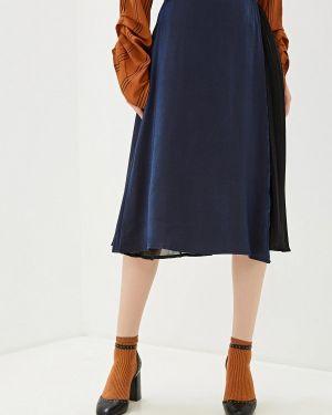 Плиссированная юбка синяя With&out