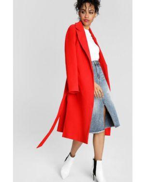 Красное пальто с поясом с разрезами по бокам Ostin