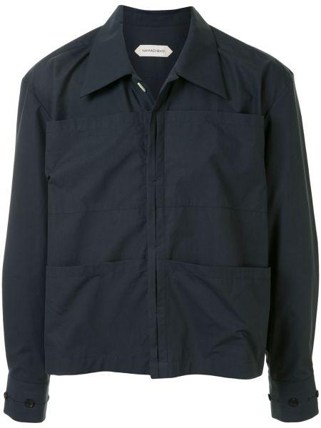 Хлопковая прямая синяя куртка на молнии Namacheko