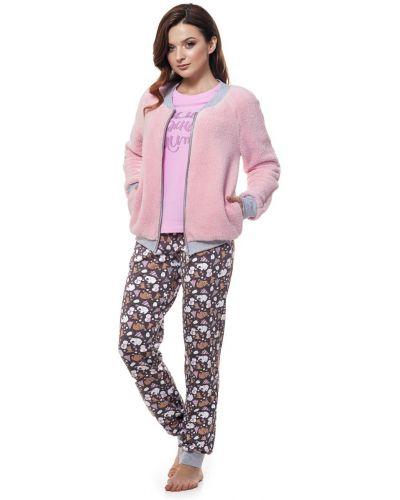 Розовая хлопковая теплая пижама с брюками Ellen