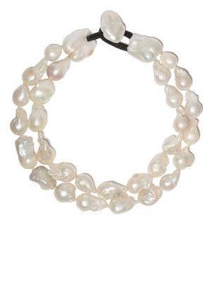 Biały naszyjnik perły skórzany Monies
