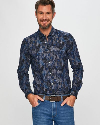 Рубашка с длинным рукавом хлопковая с узором Pierre Cardin