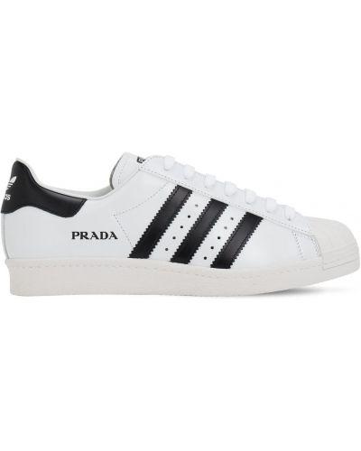 Białe sneakersy skorzane sznurowane Adidas X Prada