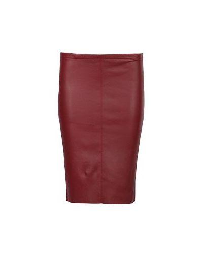 Юбка карандаш кожаная красный Max & Moi