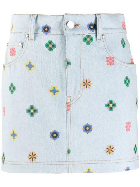 Niebieska spódnica ołówkowa z wysokim stanem z paskiem Kirin