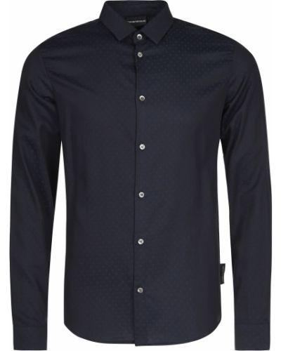 Хлопковая рубашка - синяя Emporio Armani