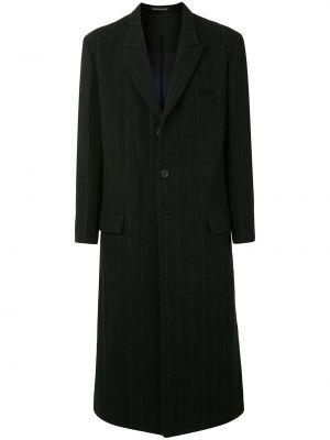 Шерстяное черное длинное пальто с воротником Yohji Yamamoto