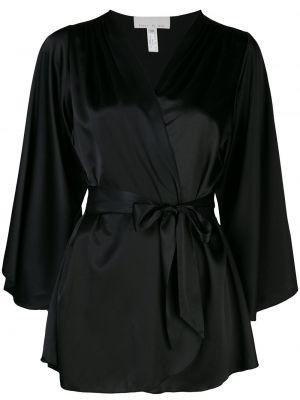 Шелковый халат - черный Fleur Du Mal