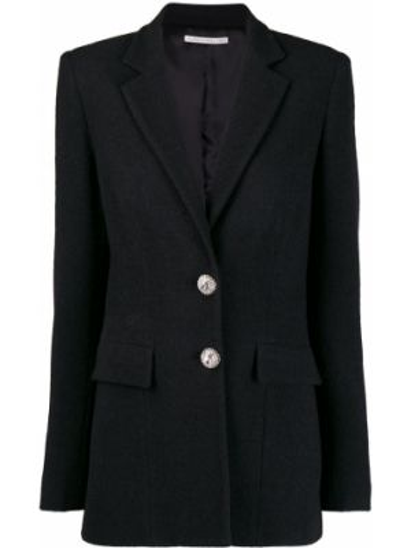 Однобортный черный удлиненный пиджак с карманами Alessandra Rich