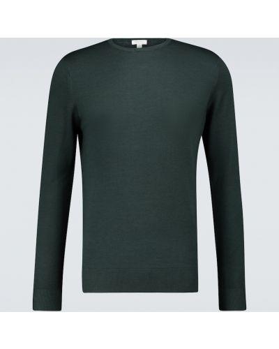 Зеленый шерстяной свитер с воротником Sunspel