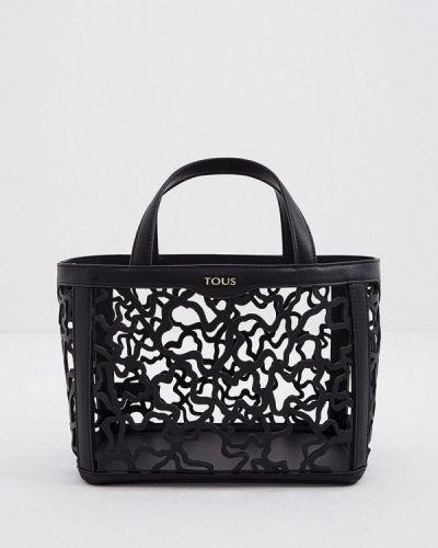Черная кожаная сумка с ручками Tous