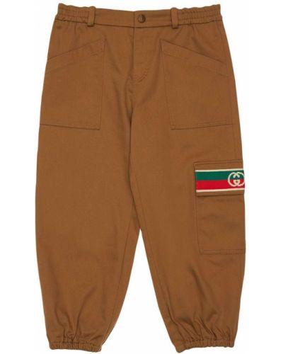 Spodnie na gumce z mankietami z gabardyny Gucci