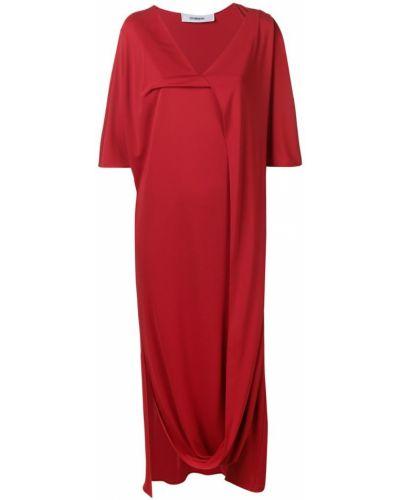Платье с V-образным вырезом - красное Chalayan