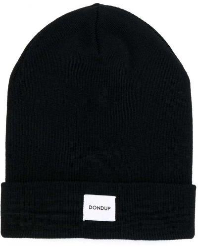 Шерстяная черная шапка бини в рубчик с нашивками Dondup Kids