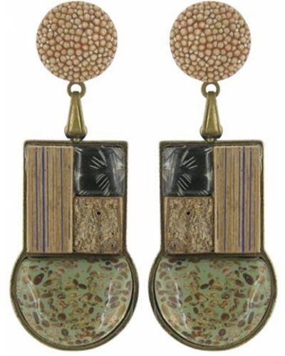 Серьги с агатом с перьями Nature Bijoux