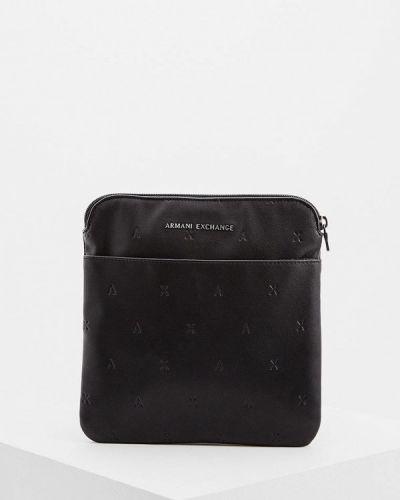 Кожаная сумка через плечо черная Armani Exchange