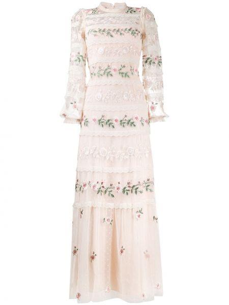 Ажурное нейлоновое розовое платье с вышивкой Needle & Thread